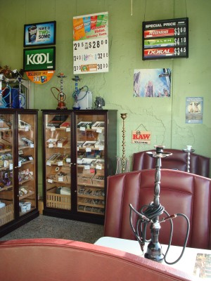 Our smoking lounge, complete with hookah rentals